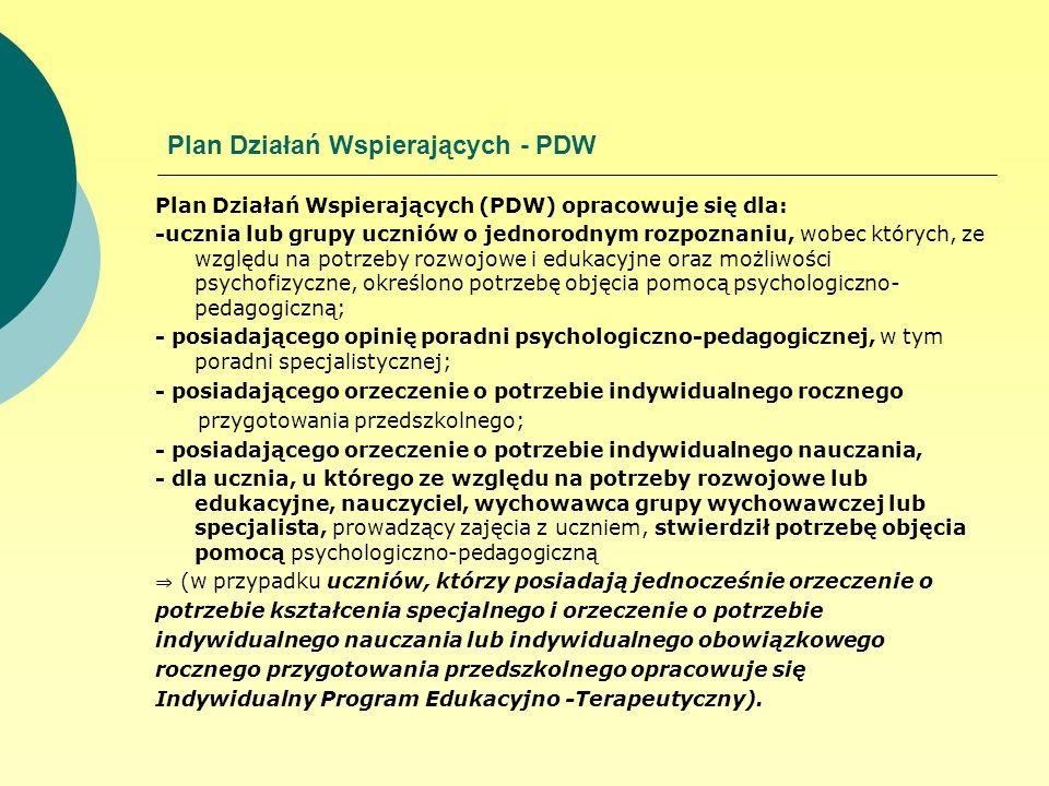 Plan Działań Wspierających - PDW