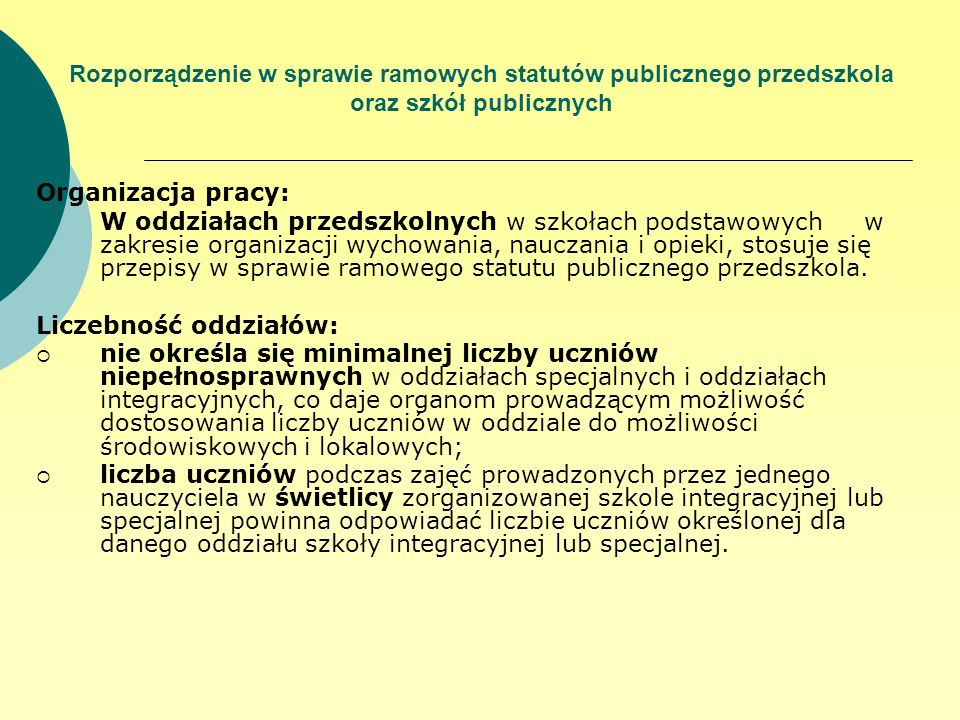 Rozporządzenie w sprawie ramowych statutów publicznego przedszkola oraz szkół publicznych