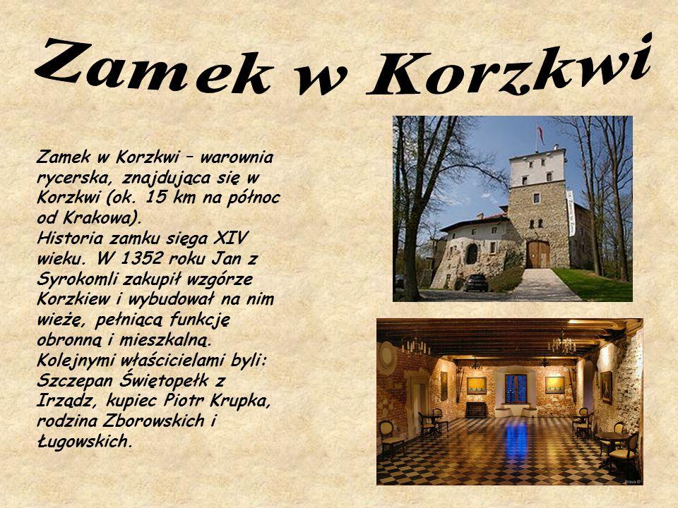 Zamek w Korzkwi Zamek w Korzkwi – warownia rycerska, znajdująca się w Korzkwi (ok. 15 km na północ od Krakowa).