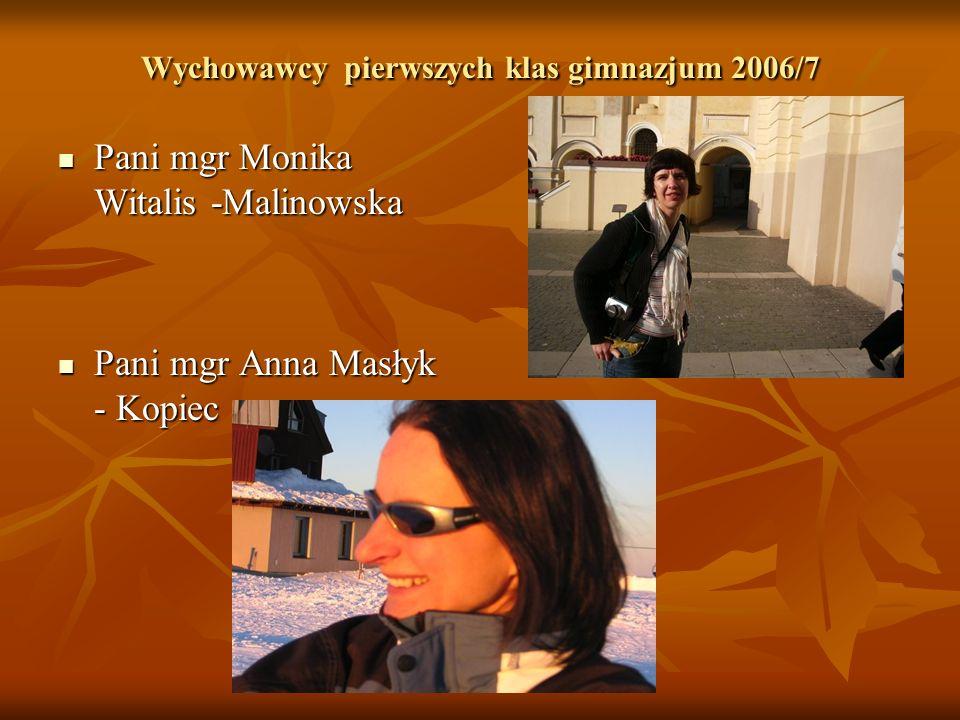 Wychowawcy pierwszych klas gimnazjum 2006/7