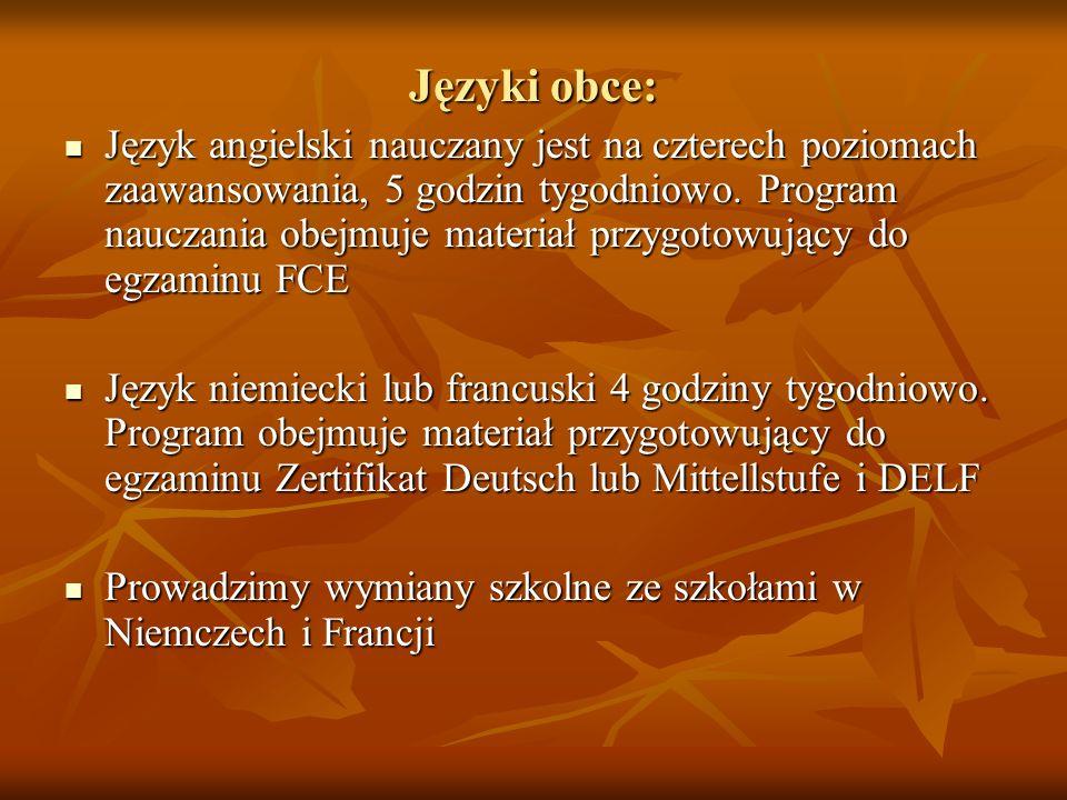 Języki obce: