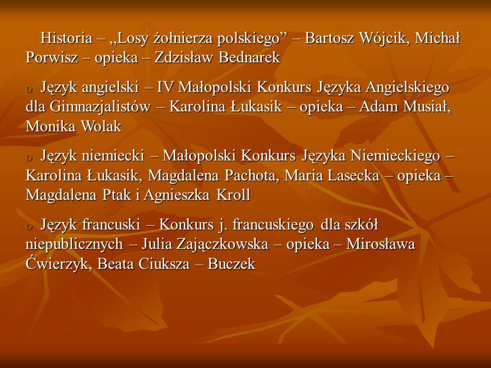 """Historia – """"Losy żołnierza polskiego – Bartosz Wójcik, Michał Porwisz – opieka – Zdzisław Bednarek"""