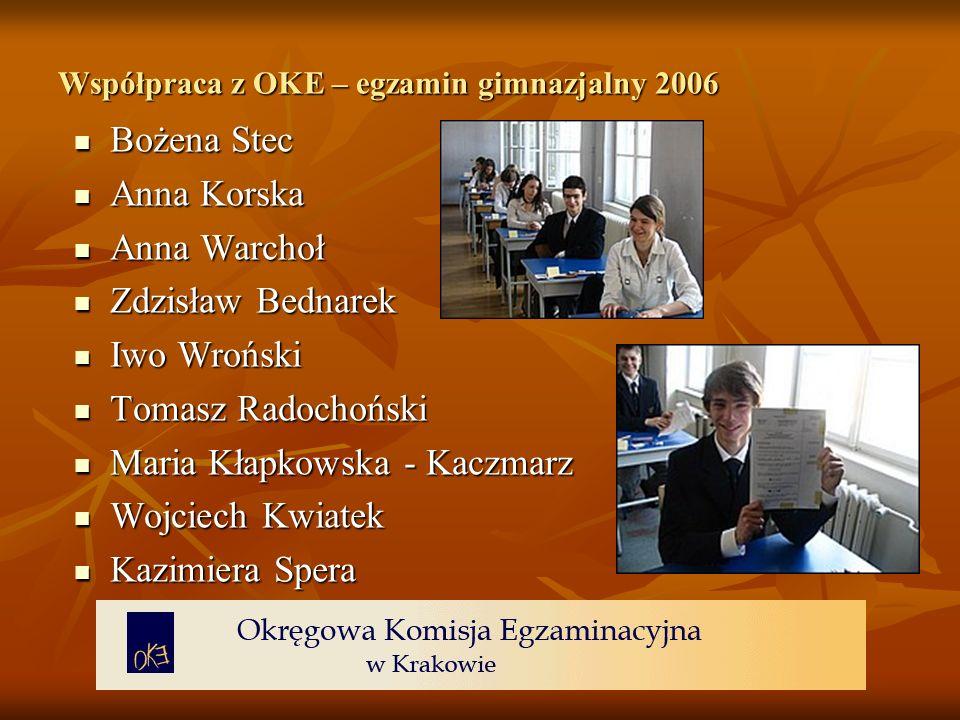 Współpraca z OKE – egzamin gimnazjalny 2006