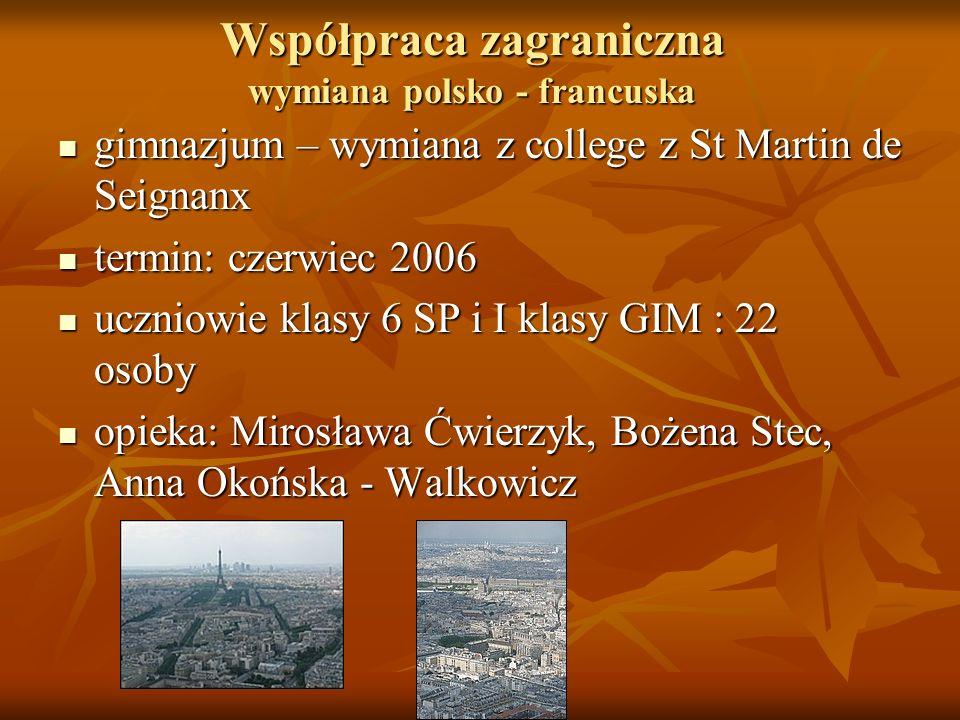 Współpraca zagraniczna wymiana polsko - francuska