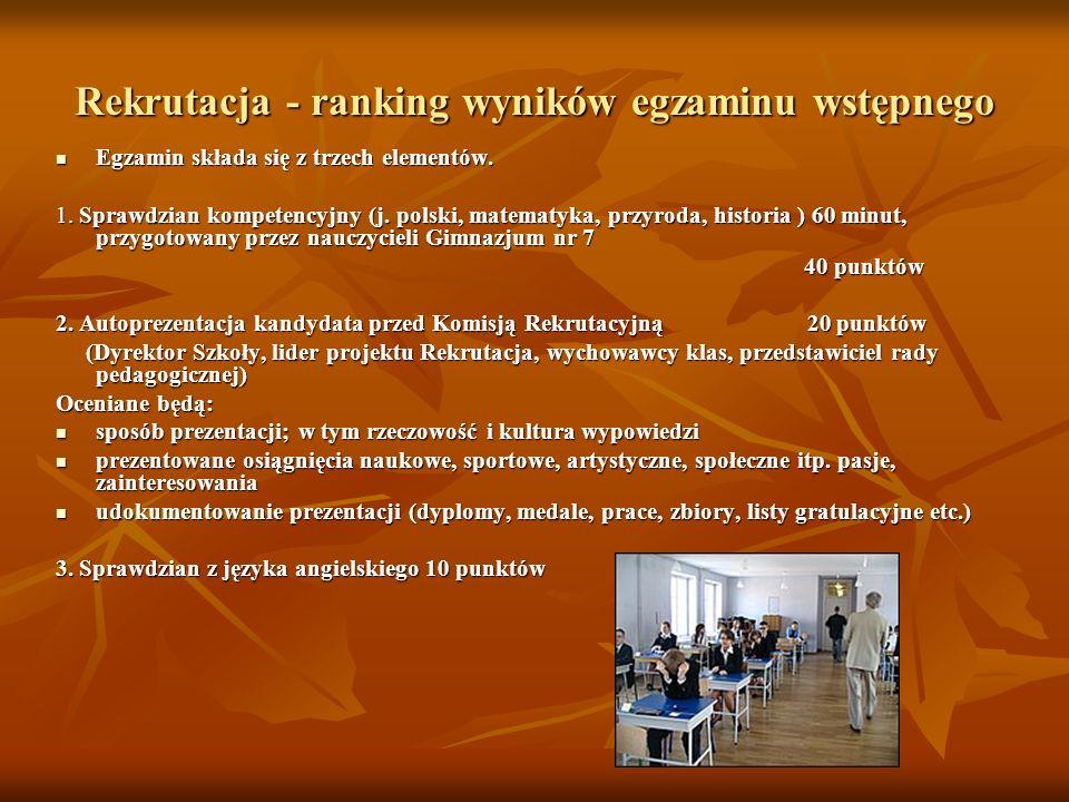 Rekrutacja - ranking wyników egzaminu wstępnego
