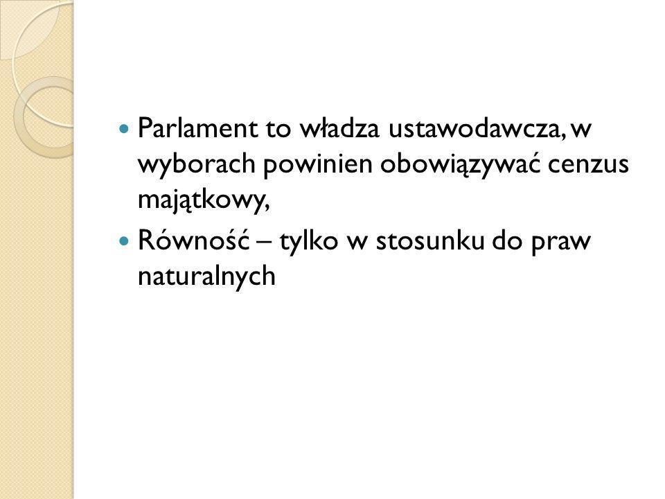 Parlament to władza ustawodawcza, w wyborach powinien obowiązywać cenzus majątkowy,