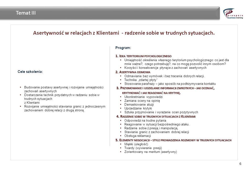 Temat III Asertywność w relacjach z Klientami - radzenie sobie w trudnych sytuacjach. Program: 1. Idea terytorium psychologicznego.