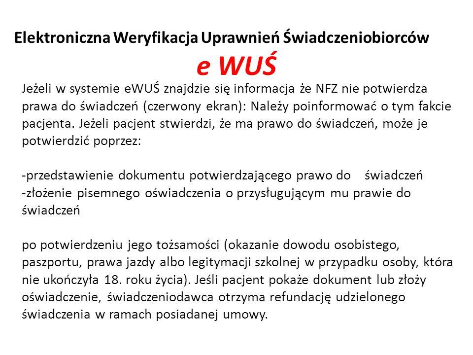 e WUŚ Elektroniczna Weryfikacja Uprawnień Świadczeniobiorców