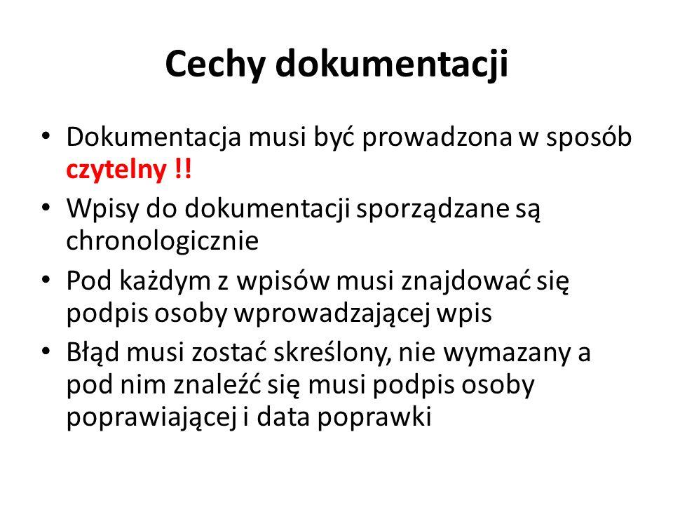 Cechy dokumentacji Dokumentacja musi być prowadzona w sposób czytelny !! Wpisy do dokumentacji sporządzane są chronologicznie.