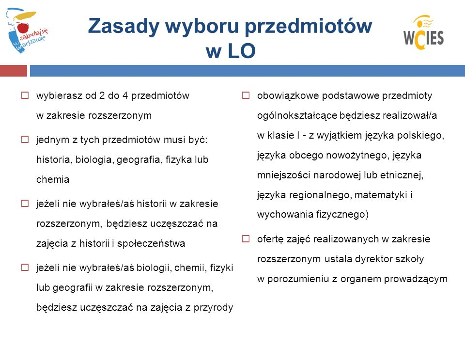 Zasady wyboru przedmiotów w LO