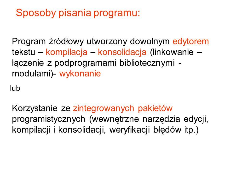 Sposoby pisania programu: