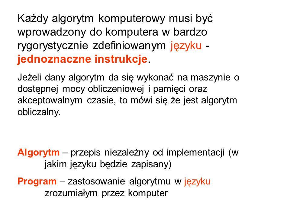 Każdy algorytm komputerowy musi być wprowadzony do komputera w bardzo rygorystycznie zdefiniowanym języku - jednoznaczne instrukcje.