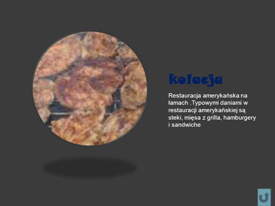 kolacja Restauracja amerykańska na łamach .Typowymi daniami w restauracji amerykańskiej są steki, mięsa z grilla, hamburgery i sandwiche.