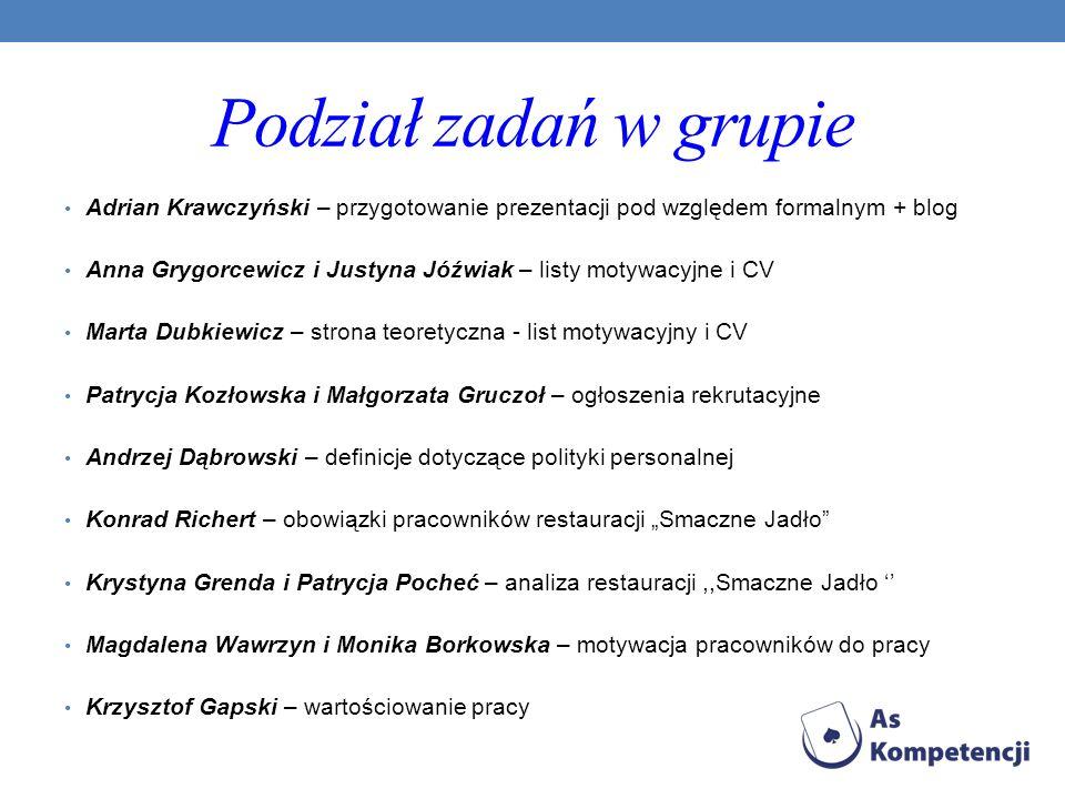 Podział zadań w grupie Adrian Krawczyński – przygotowanie prezentacji pod względem formalnym + blog.