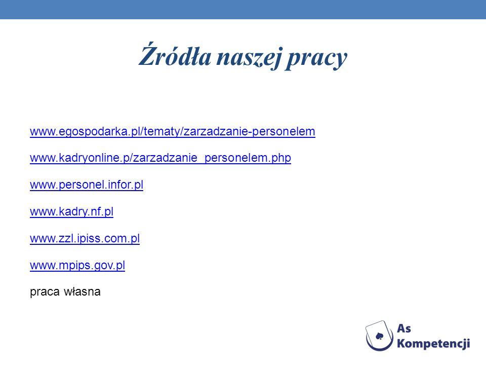 Źródła naszej pracy www.egospodarka.pl/tematy/zarzadzanie-personelem