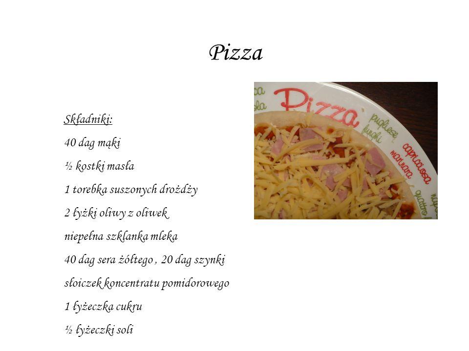 Pizza Składniki: 40 dag mąki ½ kostki masła