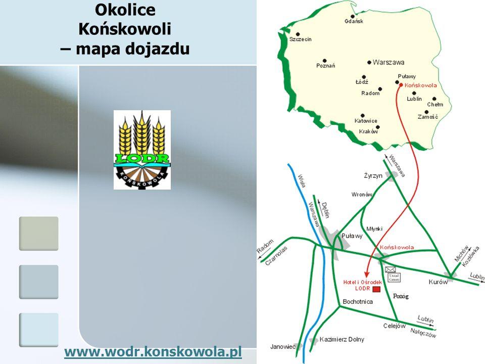 Okolice Końskowoli – mapa dojazdu
