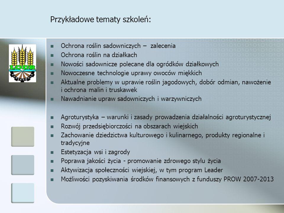 Przykładowe tematy szkoleń: