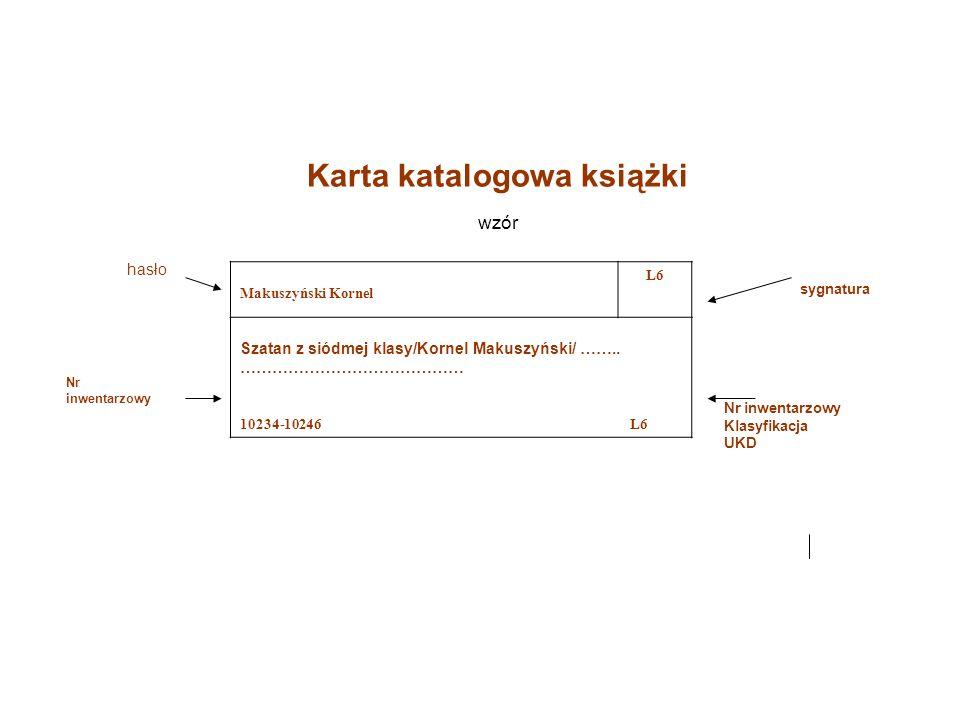 Karta katalogowa książki