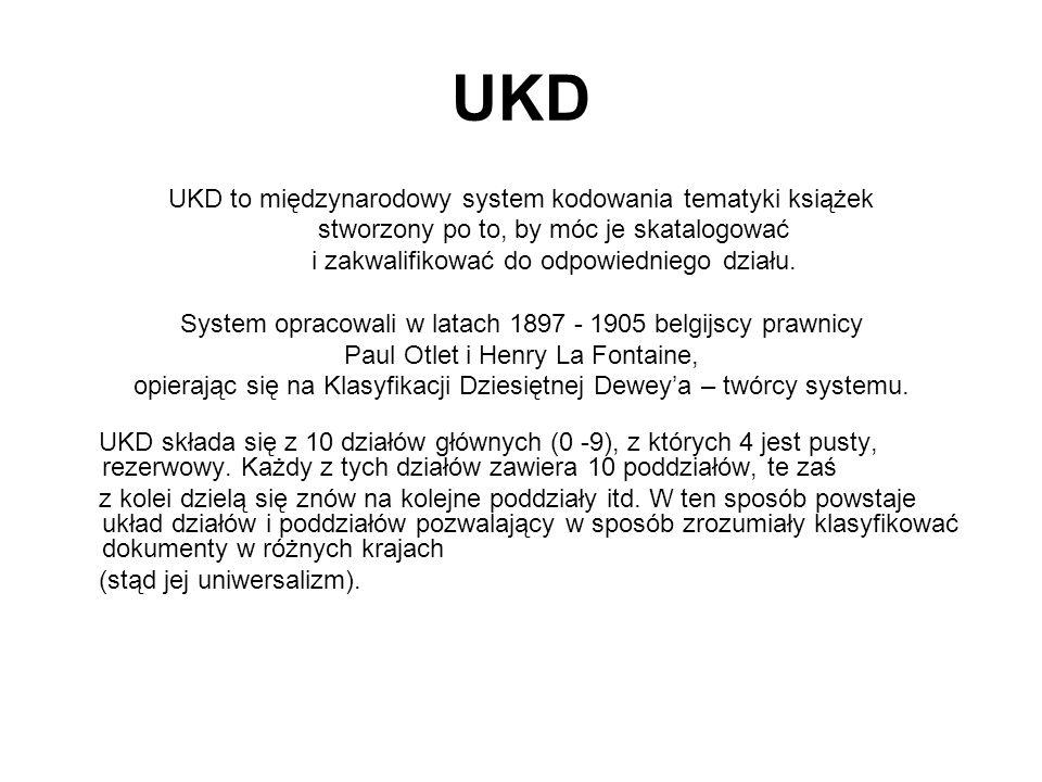 UKD UKD to międzynarodowy system kodowania tematyki książek