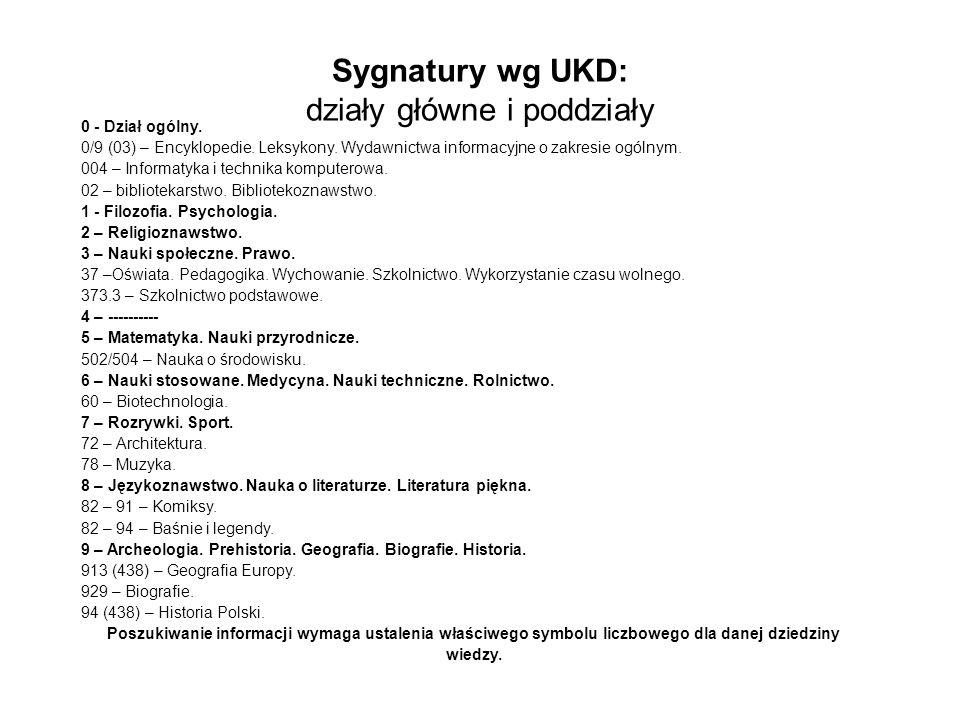 Sygnatury wg UKD: działy główne i poddziały