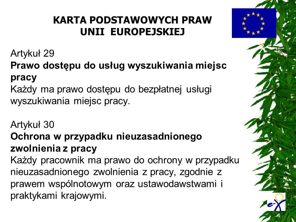 KARTA PODSTAWOWYCH PRAW UNII EUROPEJSKIEJ