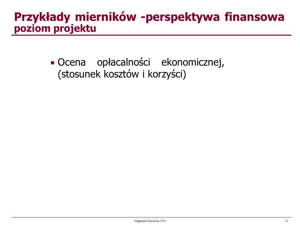 Przykłady mierników -perspektywa finansowa poziom projektu