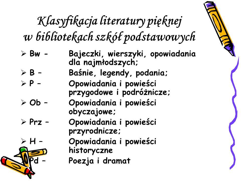 Klasyfikacja literatury pięknej w bibliotekach szkół podstawowych