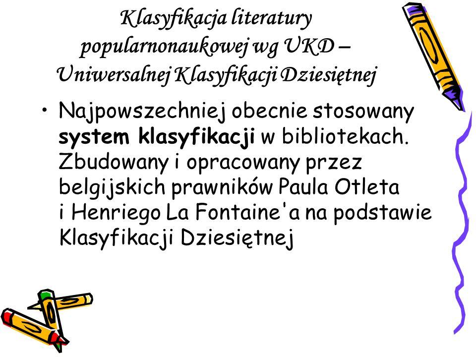 Klasyfikacja literatury popularnonaukowej wg UKD – Uniwersalnej Klasyfikacji Dziesiętnej