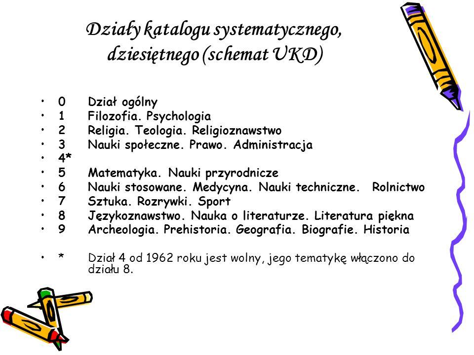 Działy katalogu systematycznego, dziesiętnego (schemat UKD)