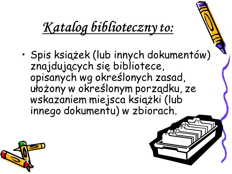 Katalog biblioteczny to: