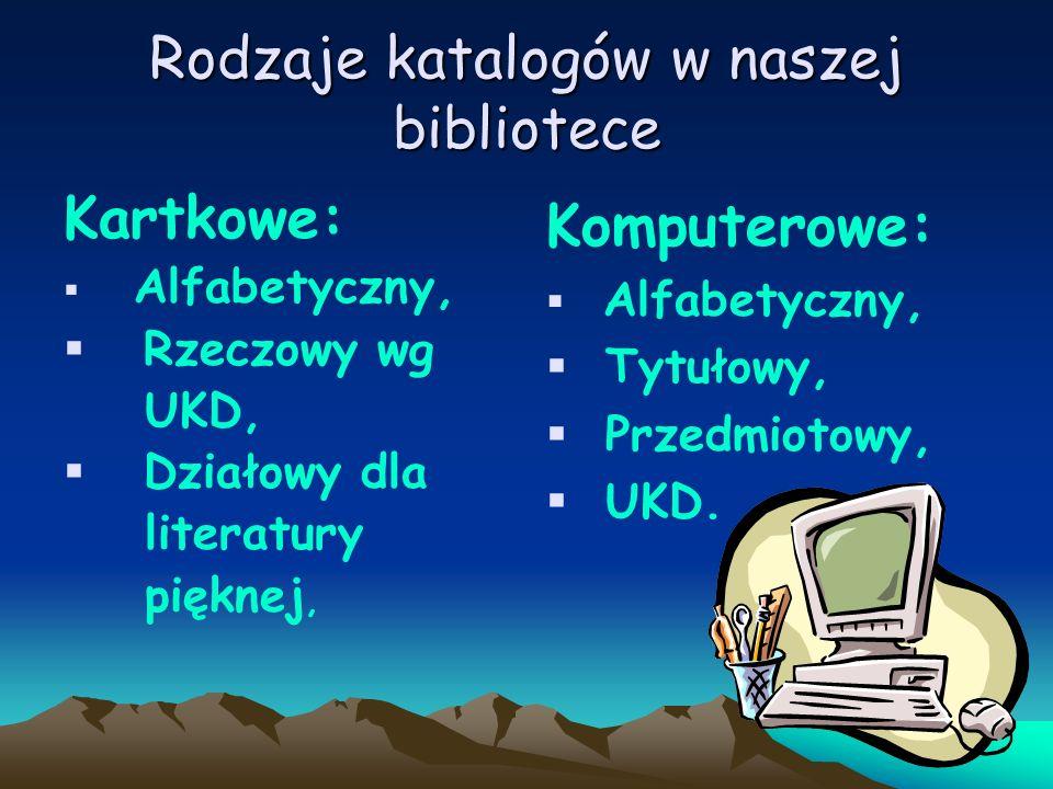 Rodzaje katalogów w naszej bibliotece