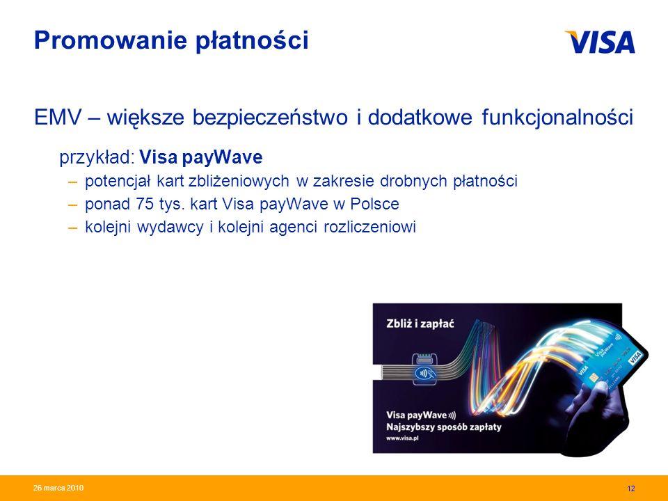 Promowanie płatności EMV – większe bezpieczeństwo i dodatkowe funkcjonalności przykład: Visa payWave.