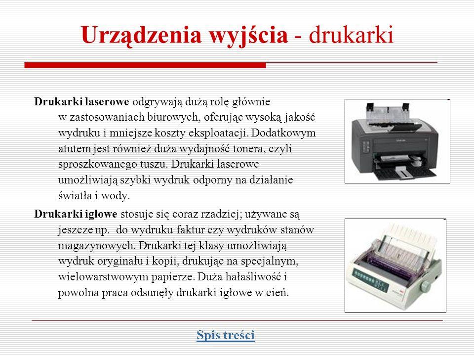 Urządzenia wyjścia - drukarki