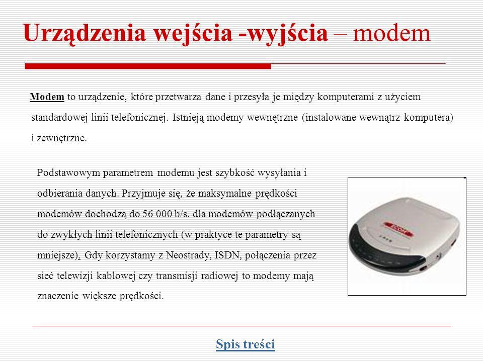 Urządzenia wejścia -wyjścia – modem