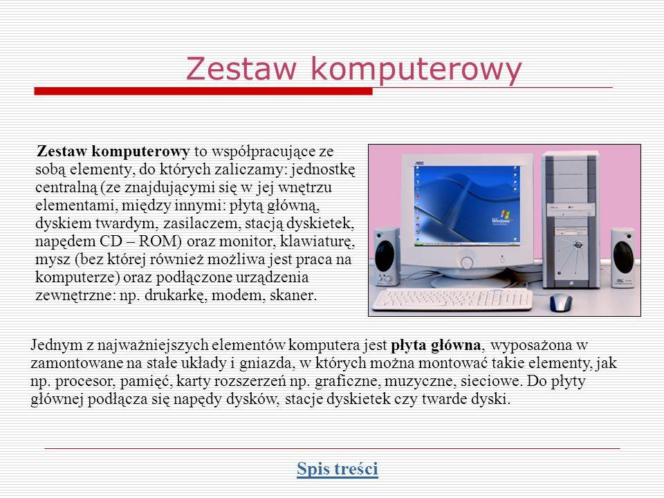 Zestaw komputerowy Spis treści