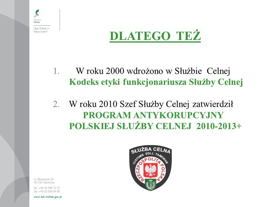DLATEGO TEŻ W roku 2000 wdrożono w Służbie Celnej