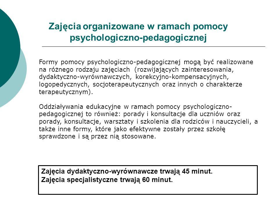 Zajęcia organizowane w ramach pomocy psychologiczno-pedagogicznej