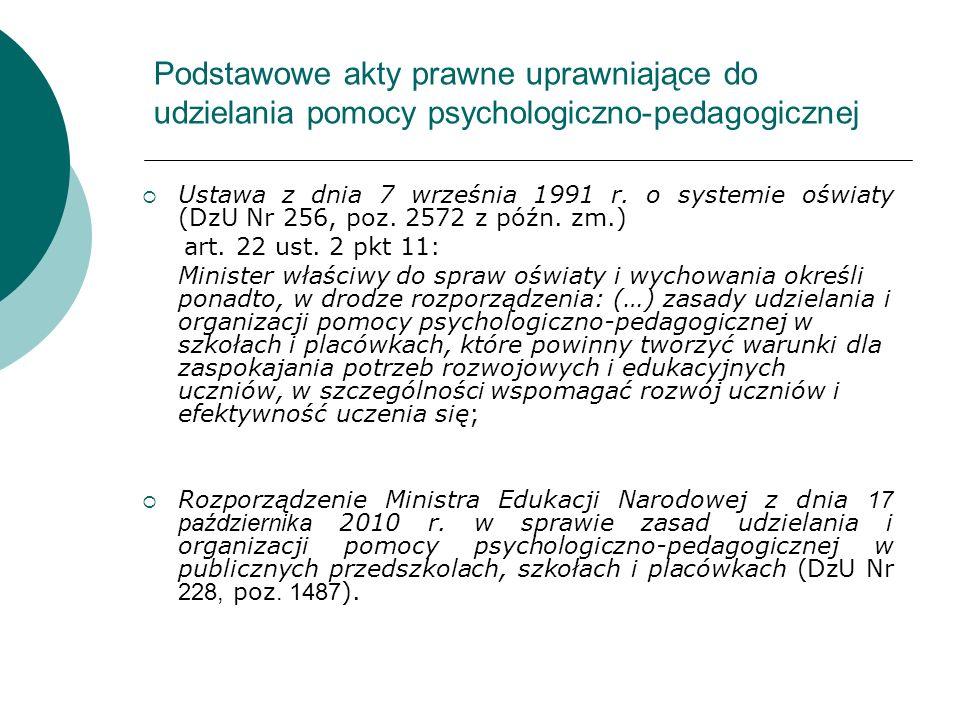 Podstawowe akty prawne uprawniające do udzielania pomocy psychologiczno-pedagogicznej