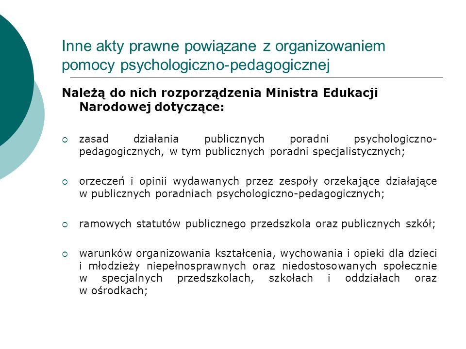 Inne akty prawne powiązane z organizowaniem pomocy psychologiczno-pedagogicznej