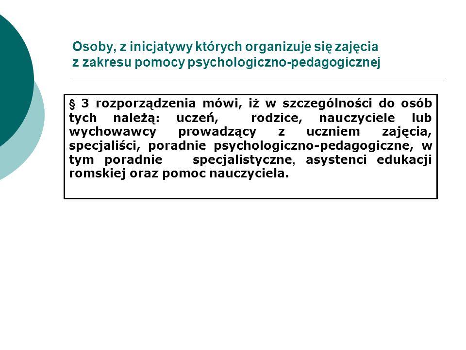 Osoby, z inicjatywy których organizuje się zajęcia z zakresu pomocy psychologiczno-pedagogicznej