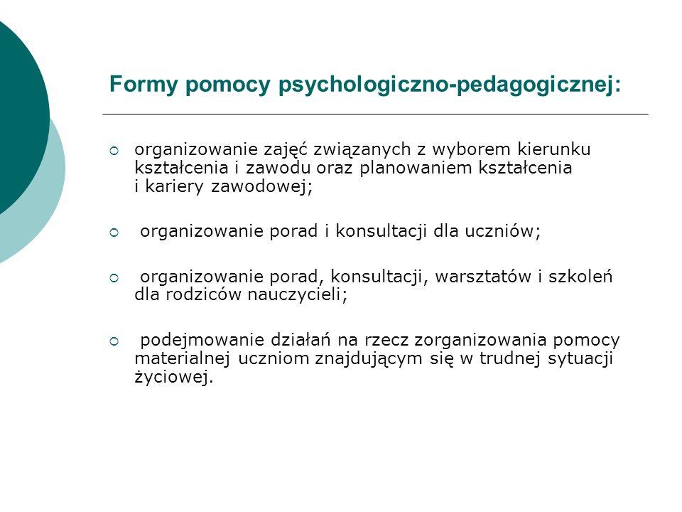 Formy pomocy psychologiczno-pedagogicznej: