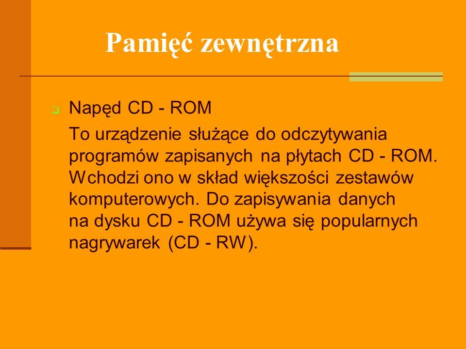 Pamięć zewnętrzna Napęd CD - ROM
