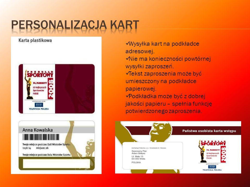 Personalizacja kart Wysyłka kart na podkładce adresowej.