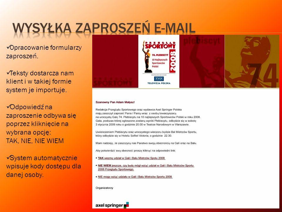 WYSYŁKA ZAPROSZEŃ e-mail