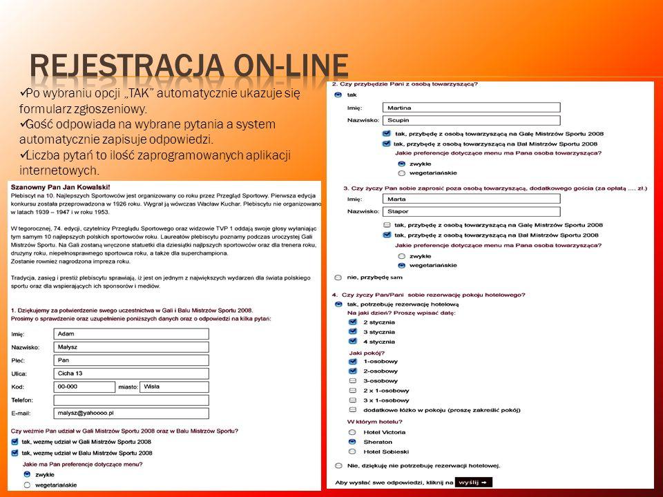 """REJESTRACJA ON-LINE Po wybraniu opcji """"TAK automatycznie ukazuje się formularz zgłoszeniowy."""