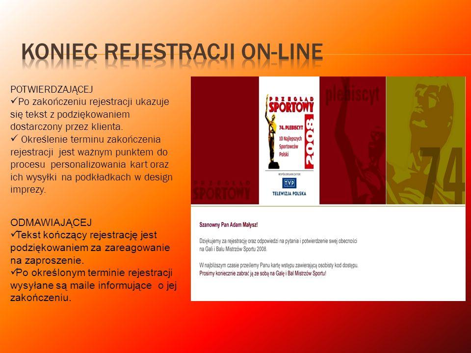 Koniec Rejestracji on-line