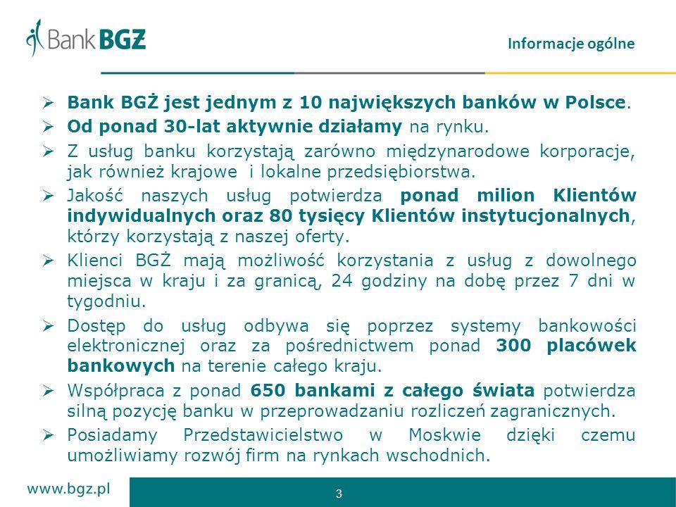 Informacje ogólne Bank BGŻ jest jednym z 10 największych banków w Polsce. Od ponad 30-lat aktywnie działamy na rynku.