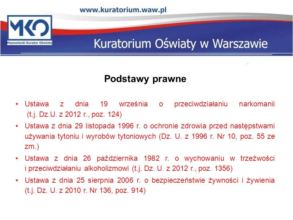 Podstawy prawne Ustawa z dnia 19 września o przeciwdziałaniu narkomanii (t.j. Dz.U. z 2012 r., poz. 124)