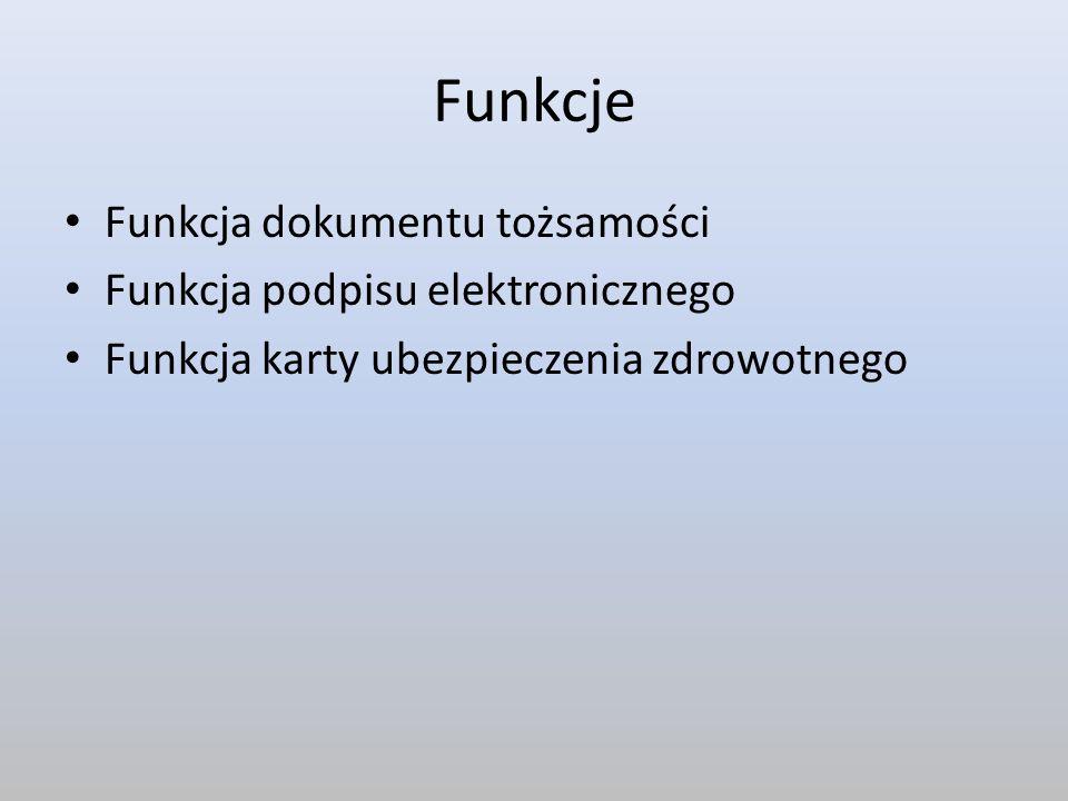 Funkcje Funkcja dokumentu tożsamości Funkcja podpisu elektronicznego